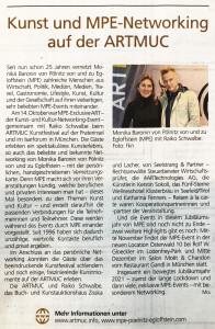 Münchner Merkur_Wochenendausgabe 16 und 17 Oktober 2021 über MPE Exclusive ART auf der ARTMUC_3